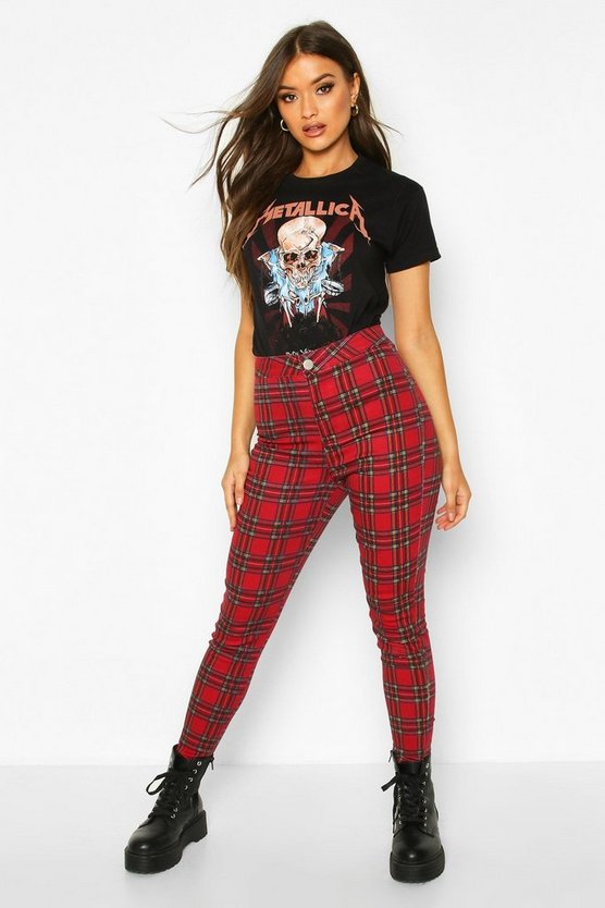 Red Tartan Check Skinny Jeans