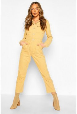 Womens Tan Cord Boilersuit