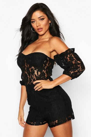 Black Lace Bardot Playsuit
