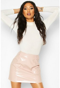 Nude Vinyl Button Detail Mini A Line Skirt