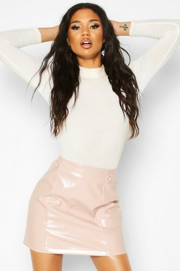 Womens Nude Vinyl Button Detail Mini A Line Skirt