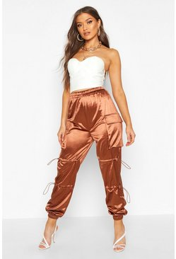 Chocolate Stretch Satin Cargo Pants
