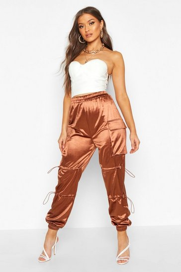 Womens Chocolate Stretch Satin Cargo Pants