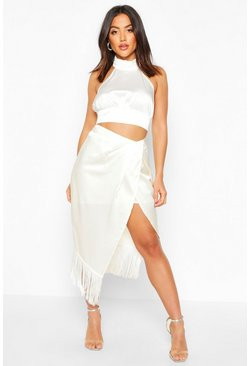 Womens Ivory Fringe Hem Detail Wrap Midi Skirt