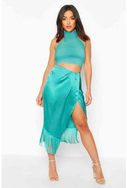 Teal Fringe Hem Detail Wrap Midi Skirt