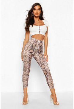 Leggings de serpiente con cintura alta a tono, Color carne