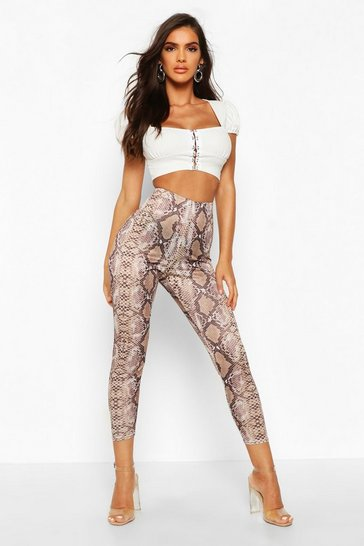 Nude Tonal Snake Highwaist Leggings