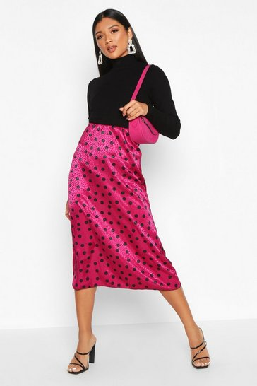 Womens Magenta Jacquard Satin Polka Dot Bias Midi Skirt