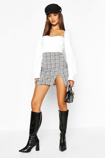 Womens Black Split Front Dogtooth Check Mini Skirt