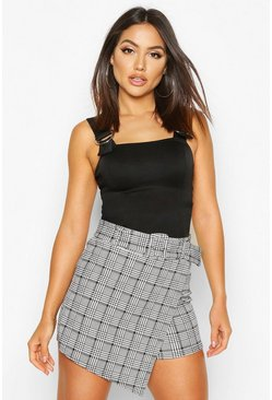 Womens Black Dogtooth Check Belted Skort