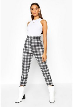 Womens Black Tonal Check Belted Skinny Stretch Trousers