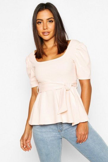 Womens Blush Square Neck Tie Waist Puff Sleeve Peplum Top