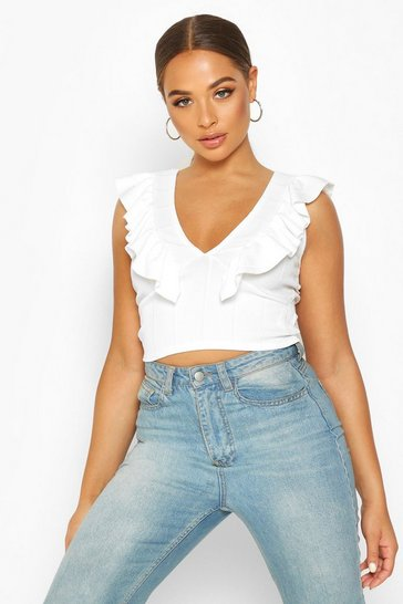 Womens White Ruffle Neck Plunge Rib Crop