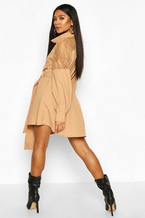 Lace Insert Swing Shirt Dress