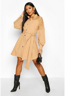 Stone Lace Insert Swing Shirt Dress