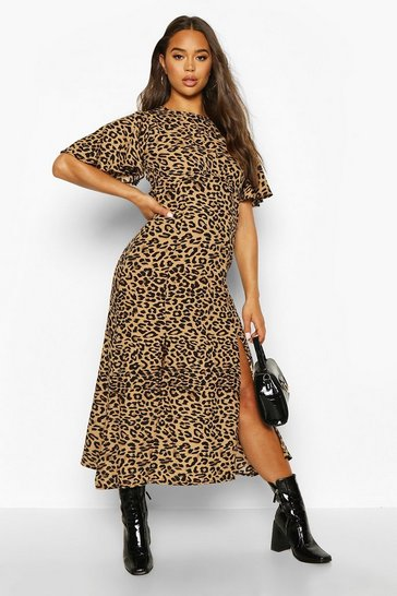 Womens Black Monochrome Leopard Flutter Sleeve Midaxi Dress
