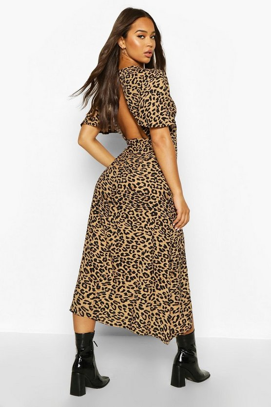 Monochrome Leopard Flutter Sleeve Midaxi Dress
