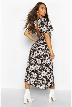 Womens Black Large Floral Flutter Sleeve Midaxi Dress