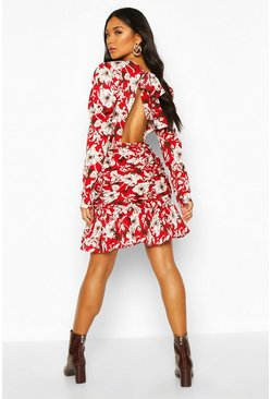 Womens Red Floral Ruched Open Back Dress