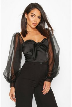 Womens Black Organza Crop Top