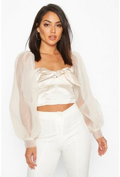 Womens Champagne Organza Crop Top