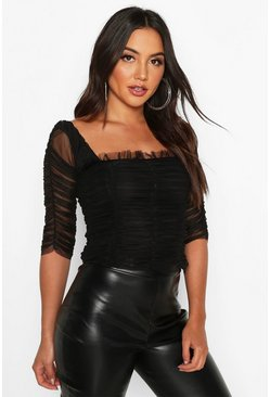 Womens Black All Over Ruched Mesh Top