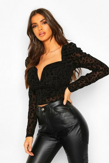 Womens Black Devore Leopard Top