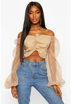 Womens Champagne Puff Sleeve Organza Cropped Blouse