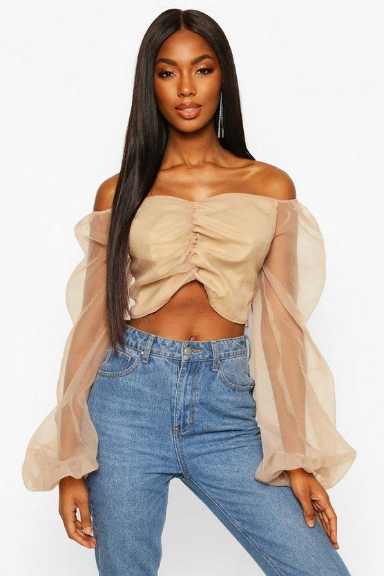 Puff Sleeve Organza Cropped Blouse