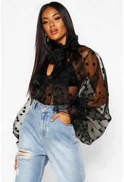 Black Polka Dot Oversized Organza Blouse