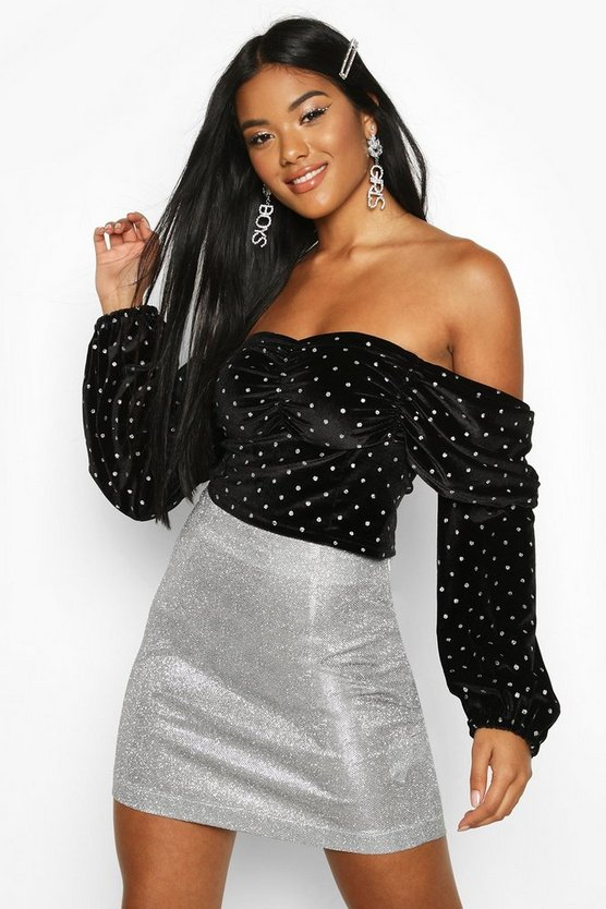 Spotted Velvet Diamante Trim Top Spotted Velvet Diamante Trim Top by Boohoo