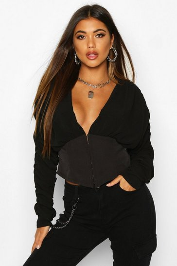 Black Corset Style Long Sleeved Top