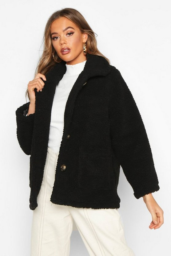 Black Button Front Teddy Faux Fur Jacket
