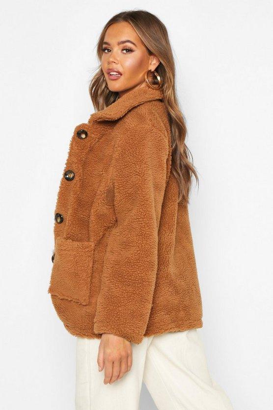 Button Front Teddy Faux Fur Jacket