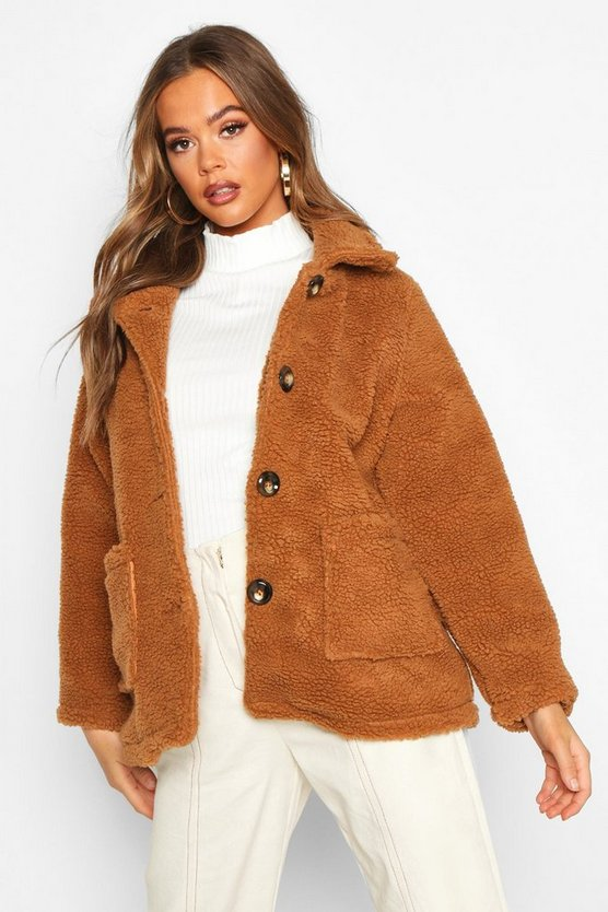 Womens Tan Button Front Teddy Faux Fur Jacket