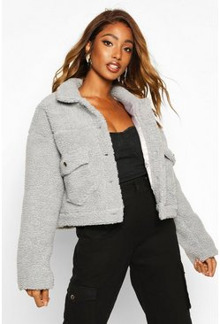 Womens Grey Cropped Teddy Faux Fur Trucker Jacket