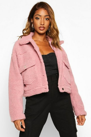 Womens Rose Cropped Teddy Faux Fur Trucker Jacket
