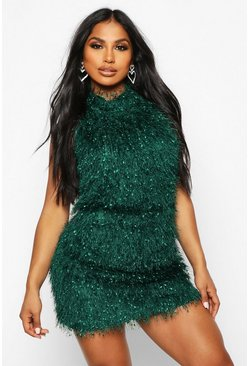 Womens Emerald Feather Knit Halterneck Mini Dress