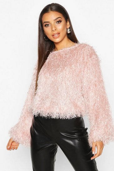 Womens Blush Feather Knit Jumper