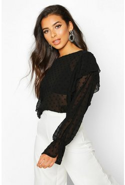 Womens Black Dobby Mesh Ruffle Sleeve Blouse