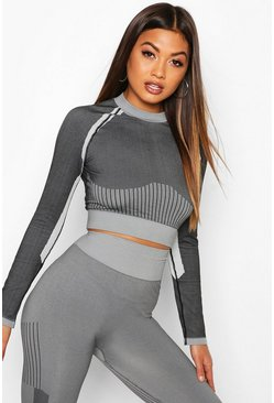 Charcoal Fit Seamless Knit Contrast Woman Active Crop Top