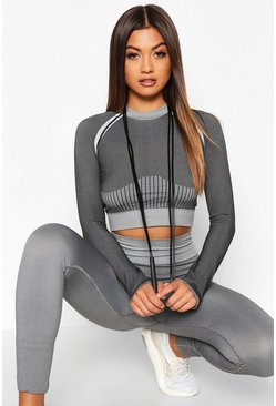 Charcoal Fit Seamless Knit Thumb Hole Woman Active Crop Top