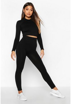 Womens Black Fit Seamless Knit Contrast High Waist Woman Active Legging