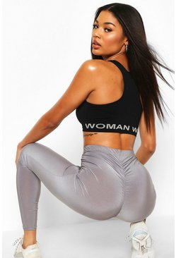 Grey Ruched Bum Booty Boosting Gym Leggings