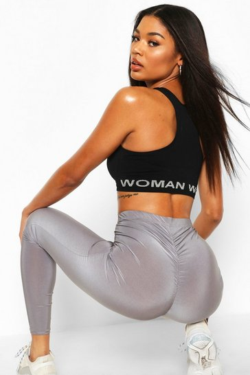 Womens Grey Ruched Bum Booty Boosting Gym Leggings