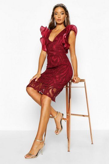 Womens Berry Ruffle Sleeve Bodycon Midi Dress