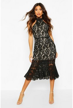 Black High Neck Fishtail Lace Midi Dress