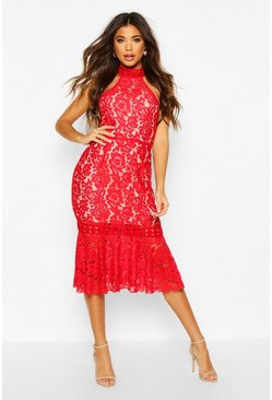 Womens Red High Neck Fishtail Lace Midi Dress