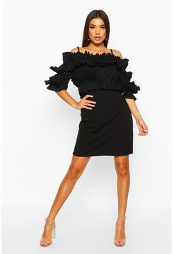Womens Black Ruffle Bardot Mini Dress