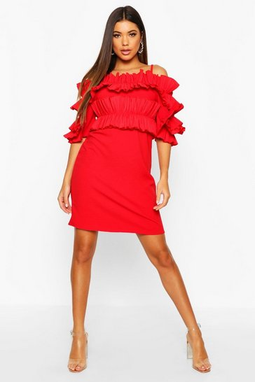 Red Ruffle Bardot Mini Dress